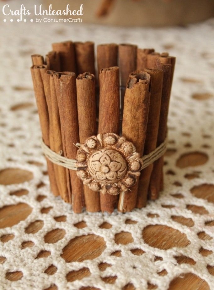 Easy Diy Craft - Cinnamon Stick Candle Holder And A Cinnamon Stick