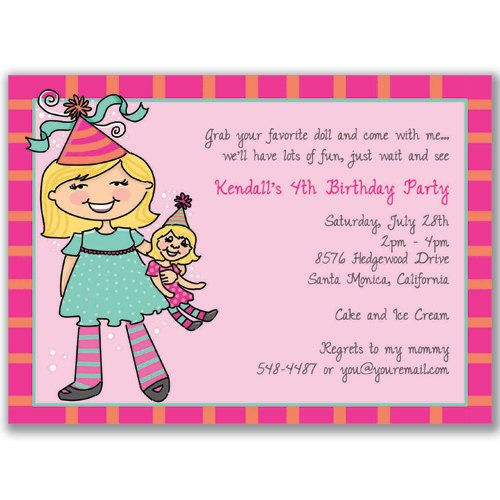 Doll And Me Invitations For Kids Birthday Party By Milelj On Etsy 2200