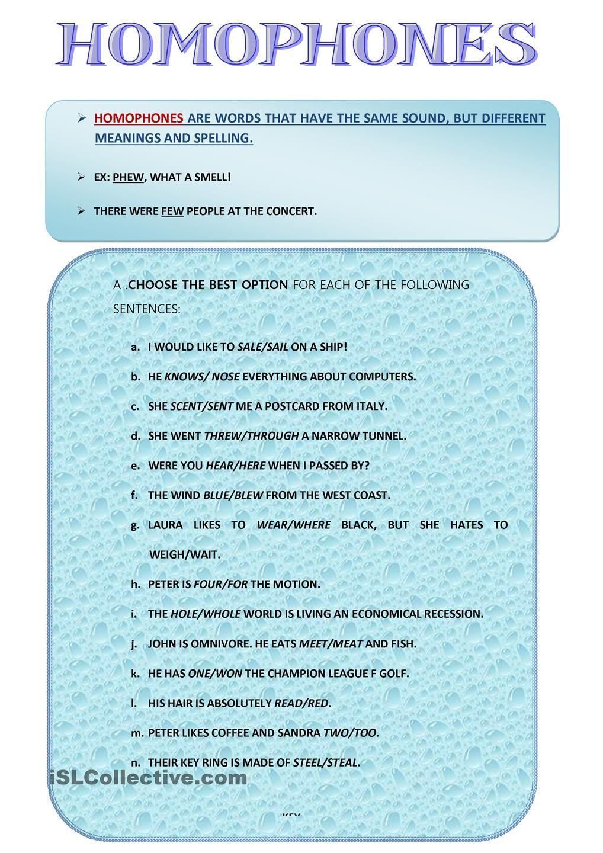 Workbooks » Homophone Printable Worksheets - Free Printable ...