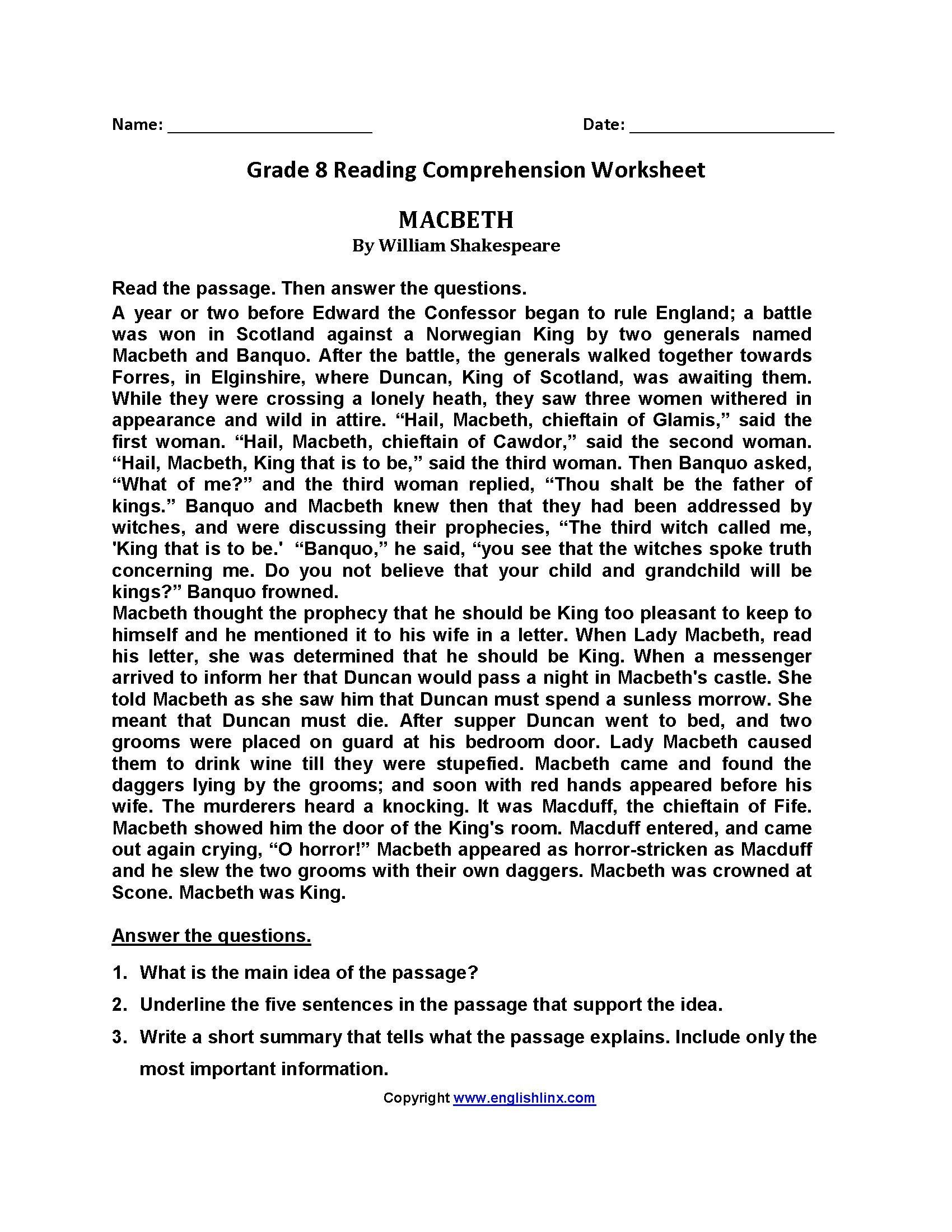 5th Grade Worksheets Printable Reading Printable Reading