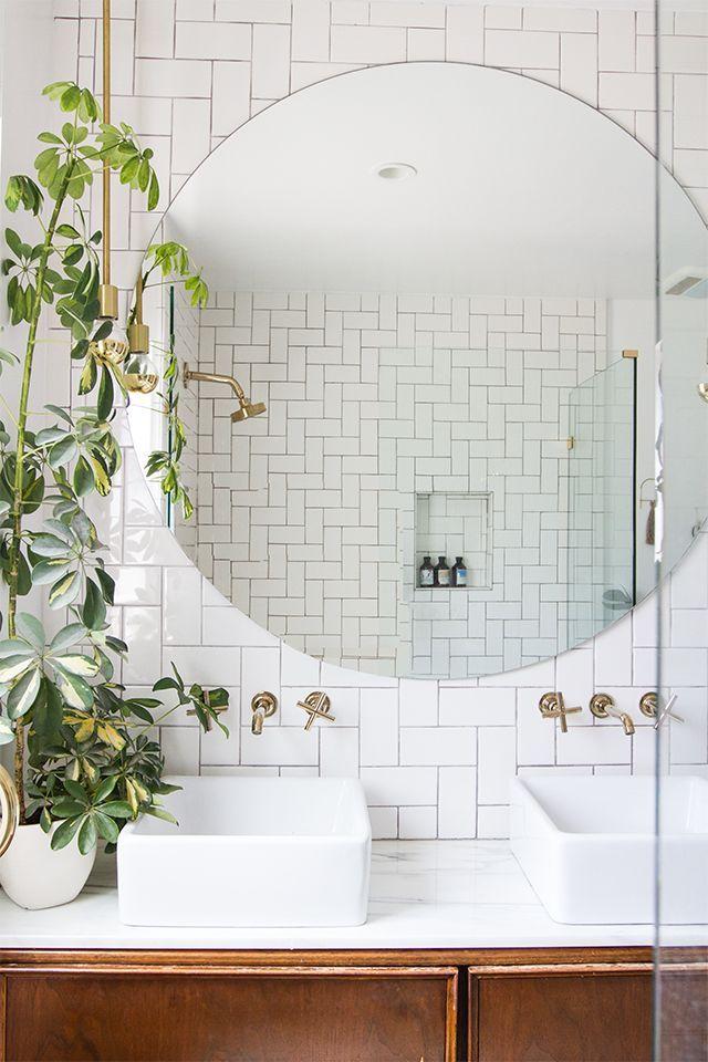 Round Bathroom Mirror And White Subway Tiles Round Mirror