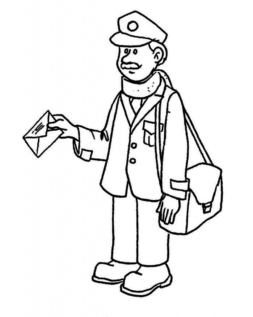 mailman cartero community helpers letter carrier coloring page for kids