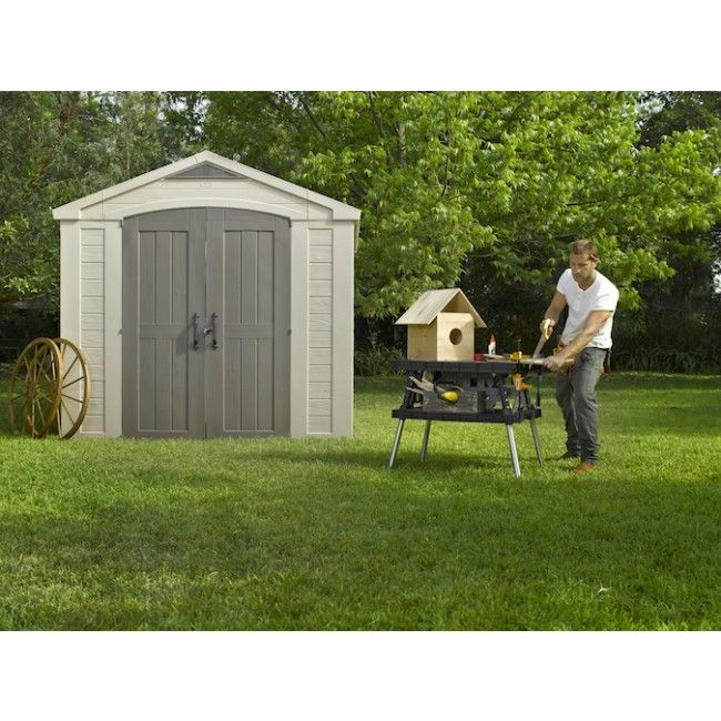 factor 8x8 resin garden shed 256m x 255m with free accessories cheap sheds - Garden Sheds 8x8