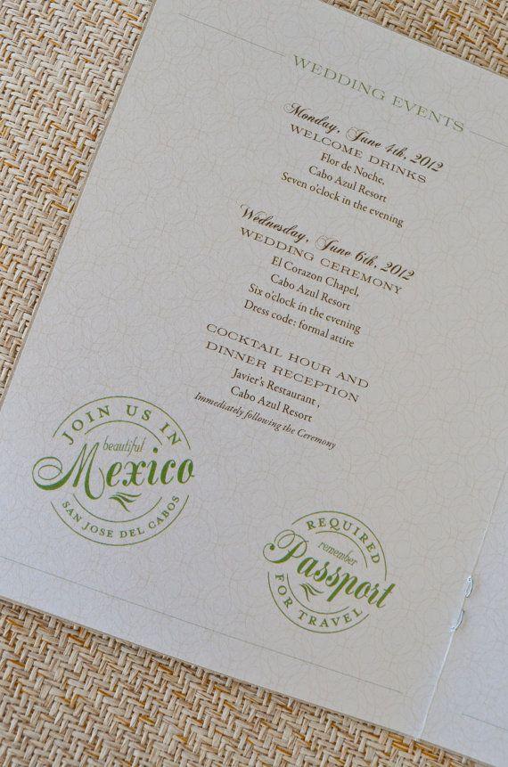 Mexican Crest Passport Wedding Invitation San Jose Del Cabos