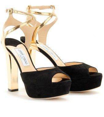 6f8247c1ddd Jimmy Choo Lyddie Suede and Mirrored Metallic Sandals - Lyst