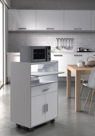 Mueble Para Microondas Blanco 59cm Ancho X 92cm Alto X 40cm