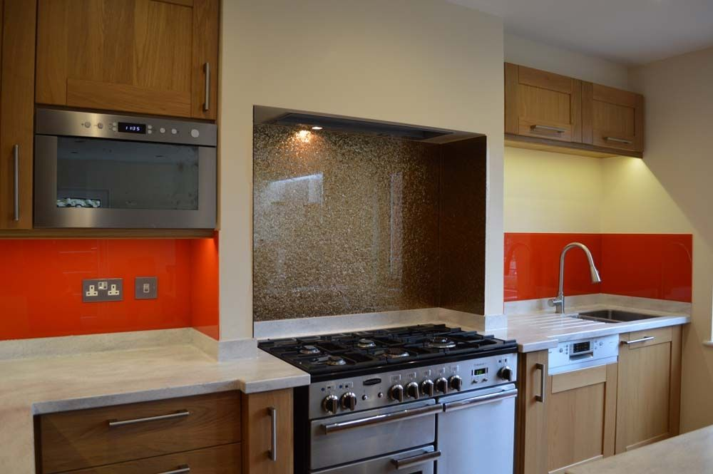 Poppy Red Gold Glass Splashbacks And Matching Colour Sockets By