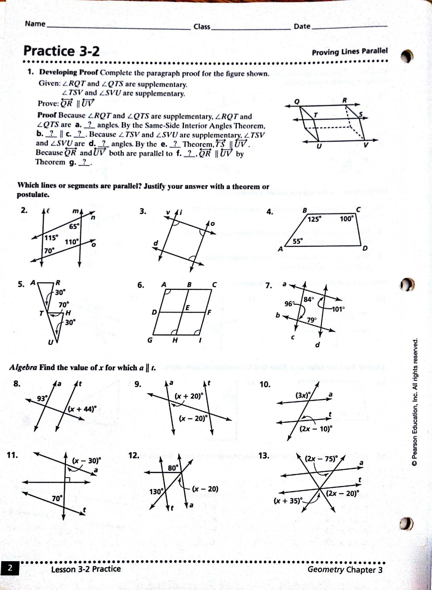 Recent Parallel Lines And Transversals Worksheet Answers