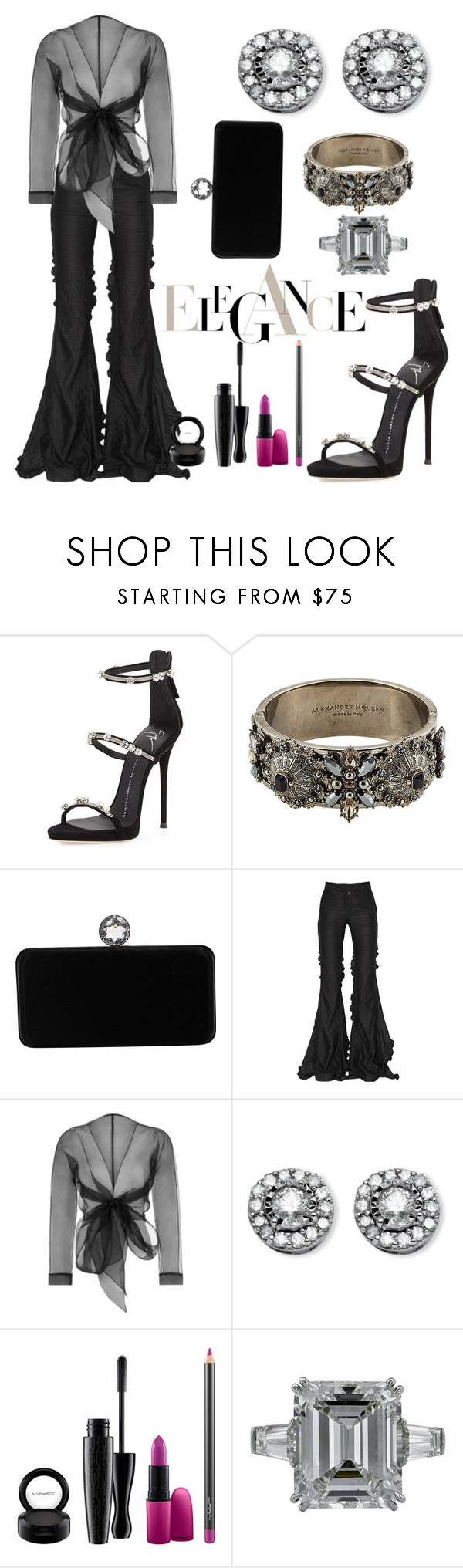 """Opera Night"" by cbmalloy ❤ liked on Polyvore featuring Giuseppe Zanotti, Alexander McQueen, Swarovski, Marco de Vincenzo, Bianca Elgar and MAC Cosmetics"