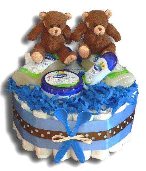 Taufe Geschenk Windeltorte ♥ Windeltorte für Zwillinge ♥ Geburt