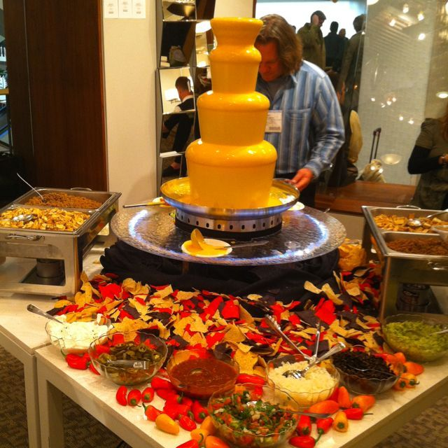 OMG Is That A Nacho Cheese FountainMake Your Own Nachos Can I Have Chocolate Fountain And In The Same Room