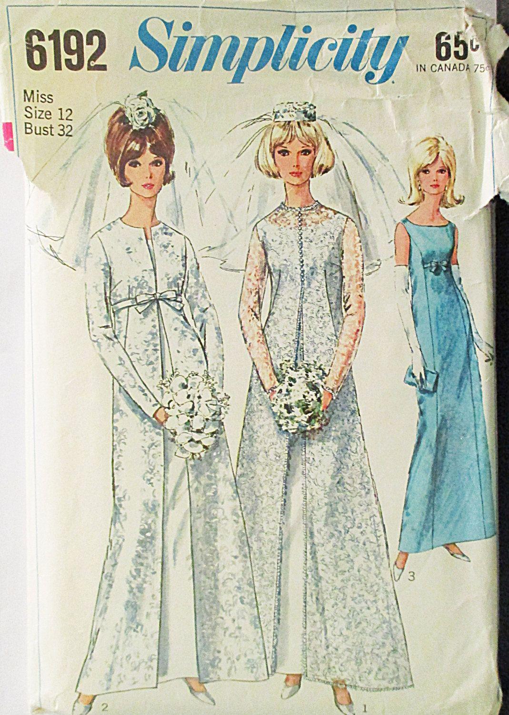 1960s Vintage Simplicity Sewing Pattern 6192 Misses Coat & Wedding ...