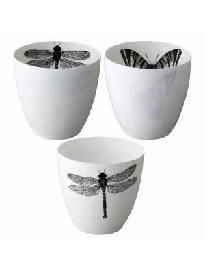 Bloomingville Waxinelichthouder wit zwart met vlinders 2x9cm 3 stuks ... 226bb6a92561e