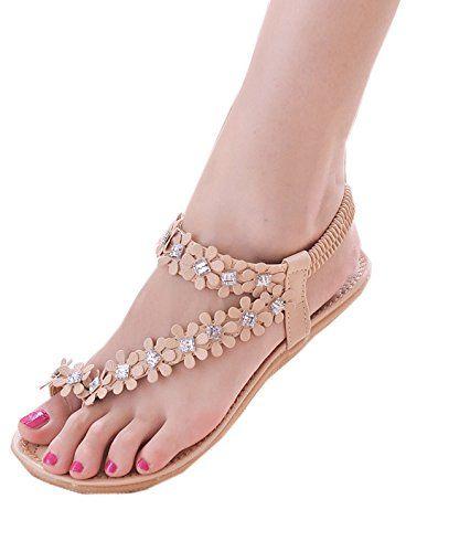 520b6558f3a9 Zeagoo Women Bohemia Flower Beads Flip-flop Shoes Flat Sandals (US 7 Pink  Rhinestone)