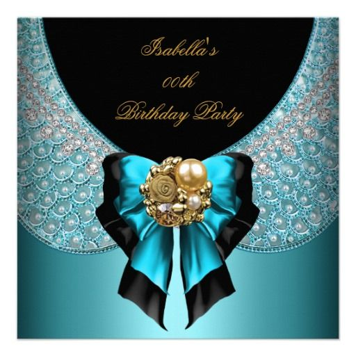 Teal Blue Gold Black Elegant Birthday Party Personalized Announcements