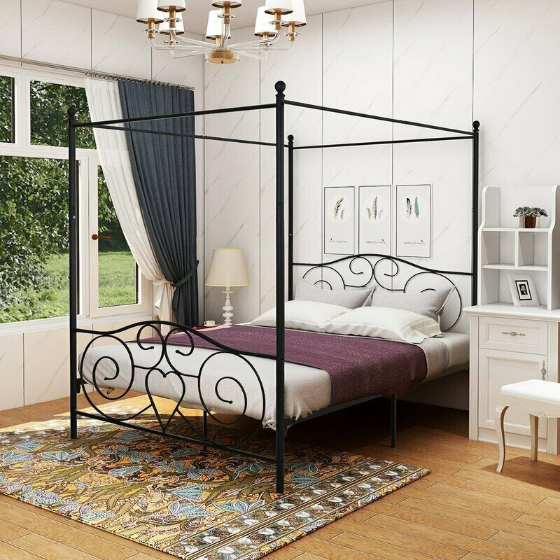 Metal Canopy Bed Frame Queen Size Modern Black Finish