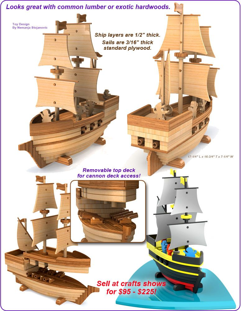 Scroll saw magic pirate ship madagascar wood toy plan set for Toy plans