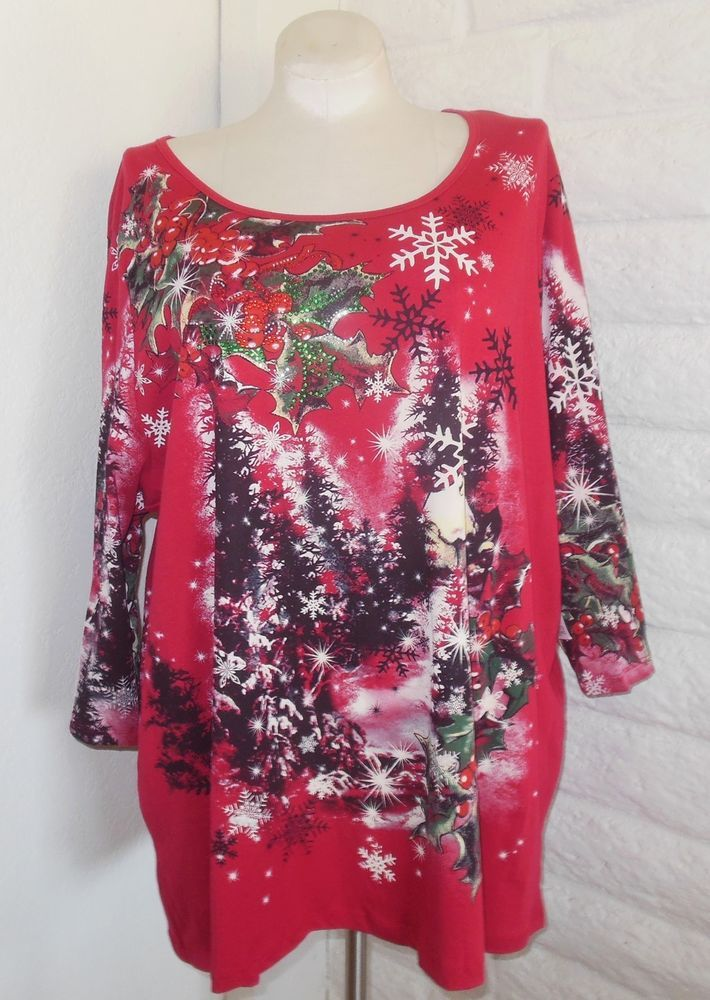 New Catherines Plus Size 5x Red Snowy Tree Holly Christmas Sparkly
