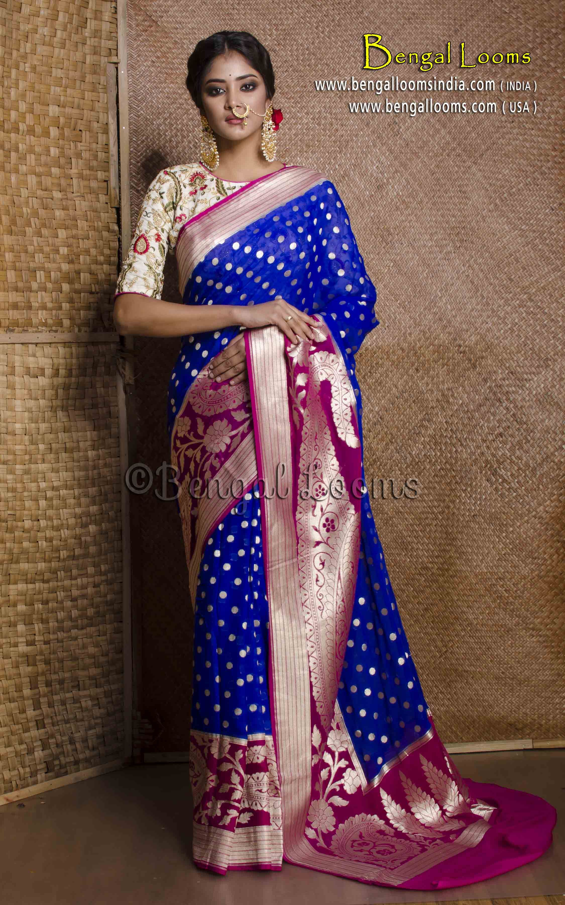 e4914c0ca46 Pure Handloom Royal Blue Georgette Silk Banarasi Saree in Royal Blue and  Magenta