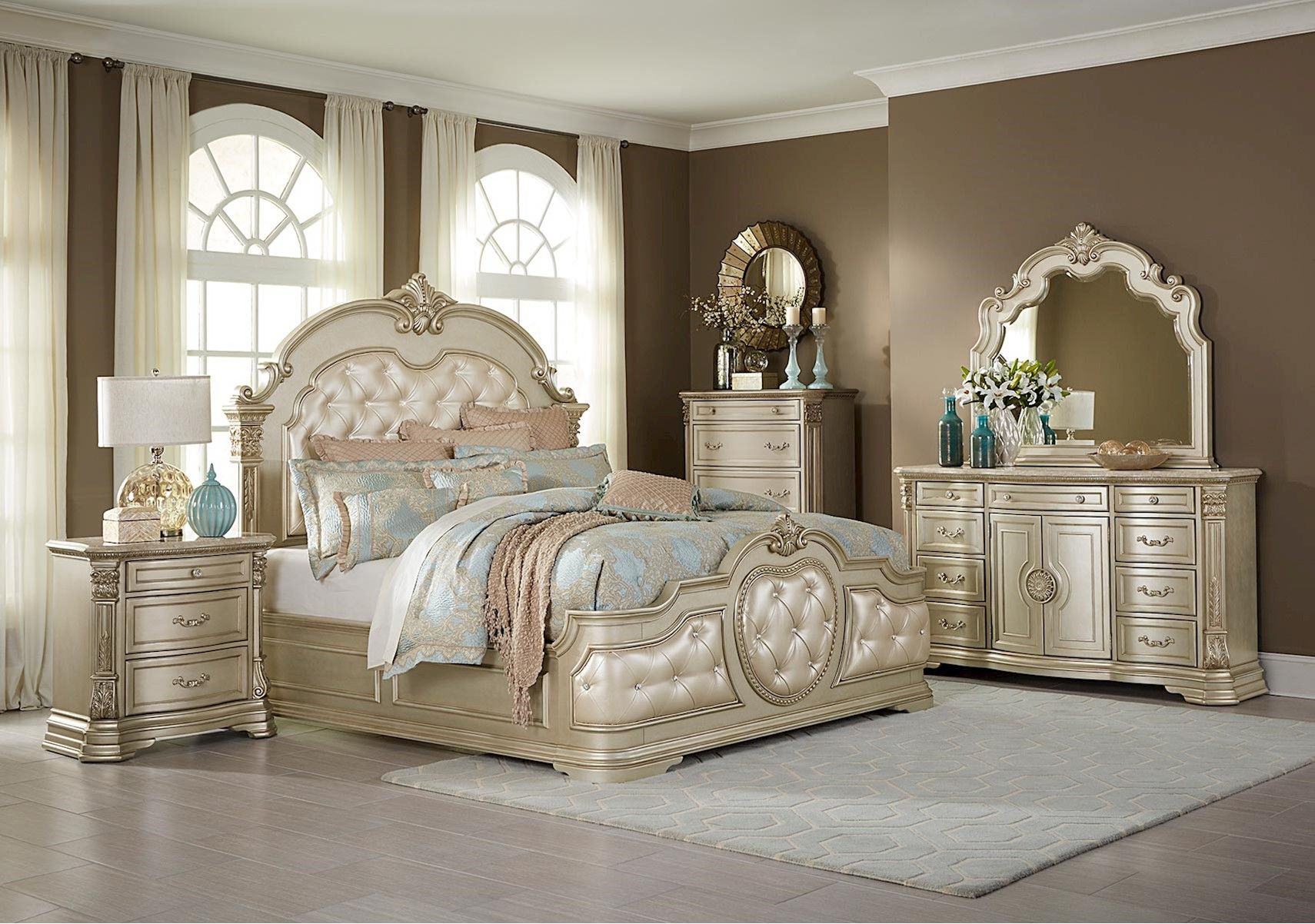 Lacks Monteria 4 Pc Queen Bedroom Set Glamorous Living Glam
