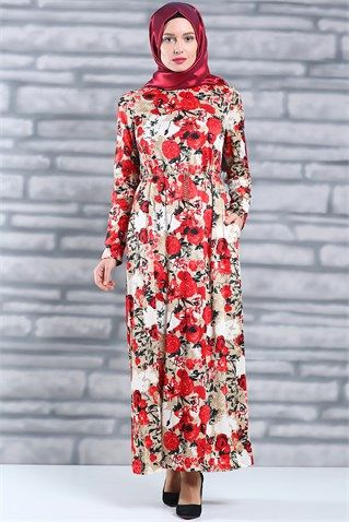 b9062f05b1132 Tesettür Giyim Elbise, Tesettür Elbise Modelleri En Ucuz Fiyatlara En  Kaliteli Ürünler Moda Sevinç'de ModaSevinç, 39,9 TL, Desenli Örme Elbise  (Bej)