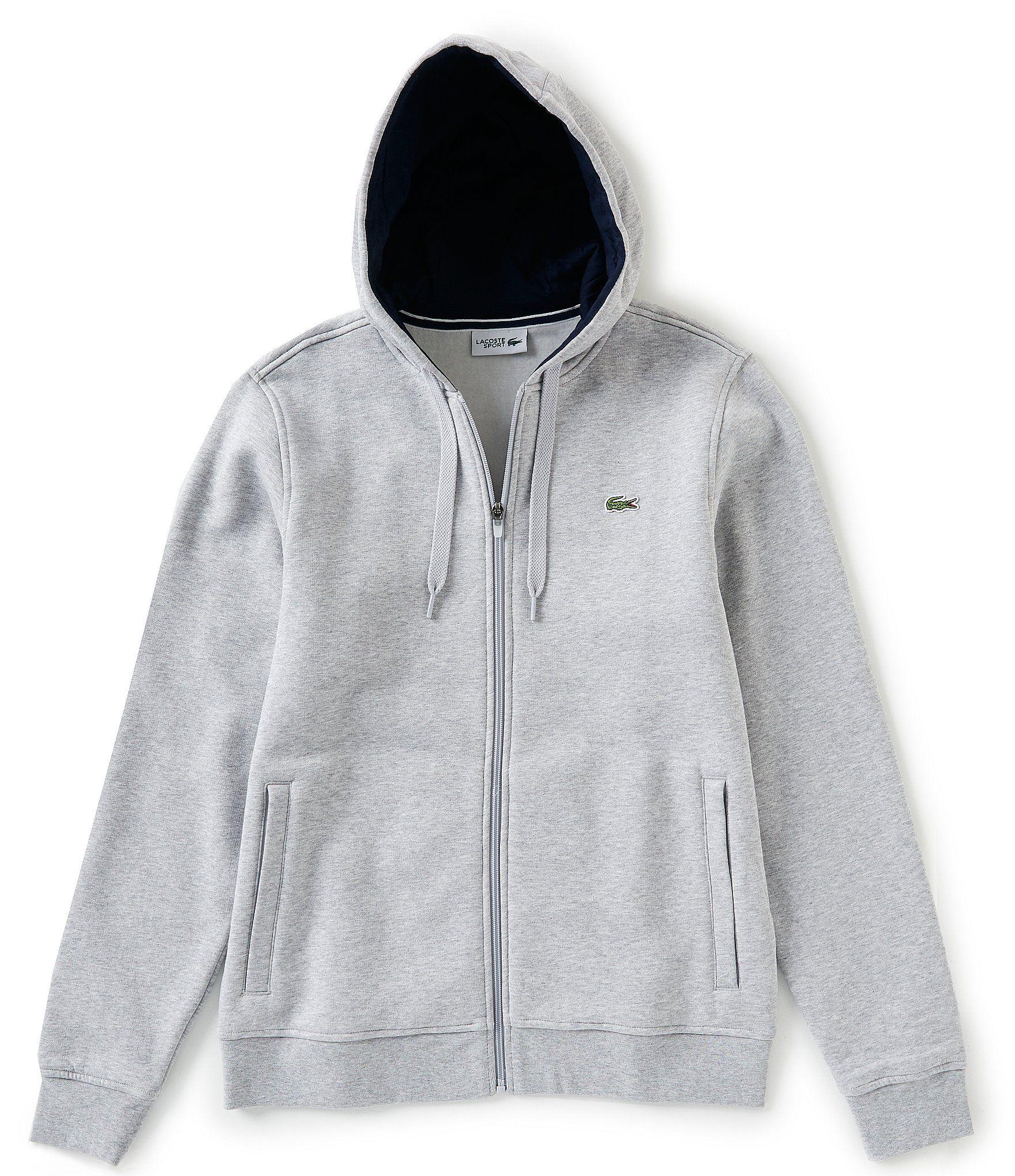 Lacoste Navy Blue//Silver Chine Full Zip Fleece Hoodie