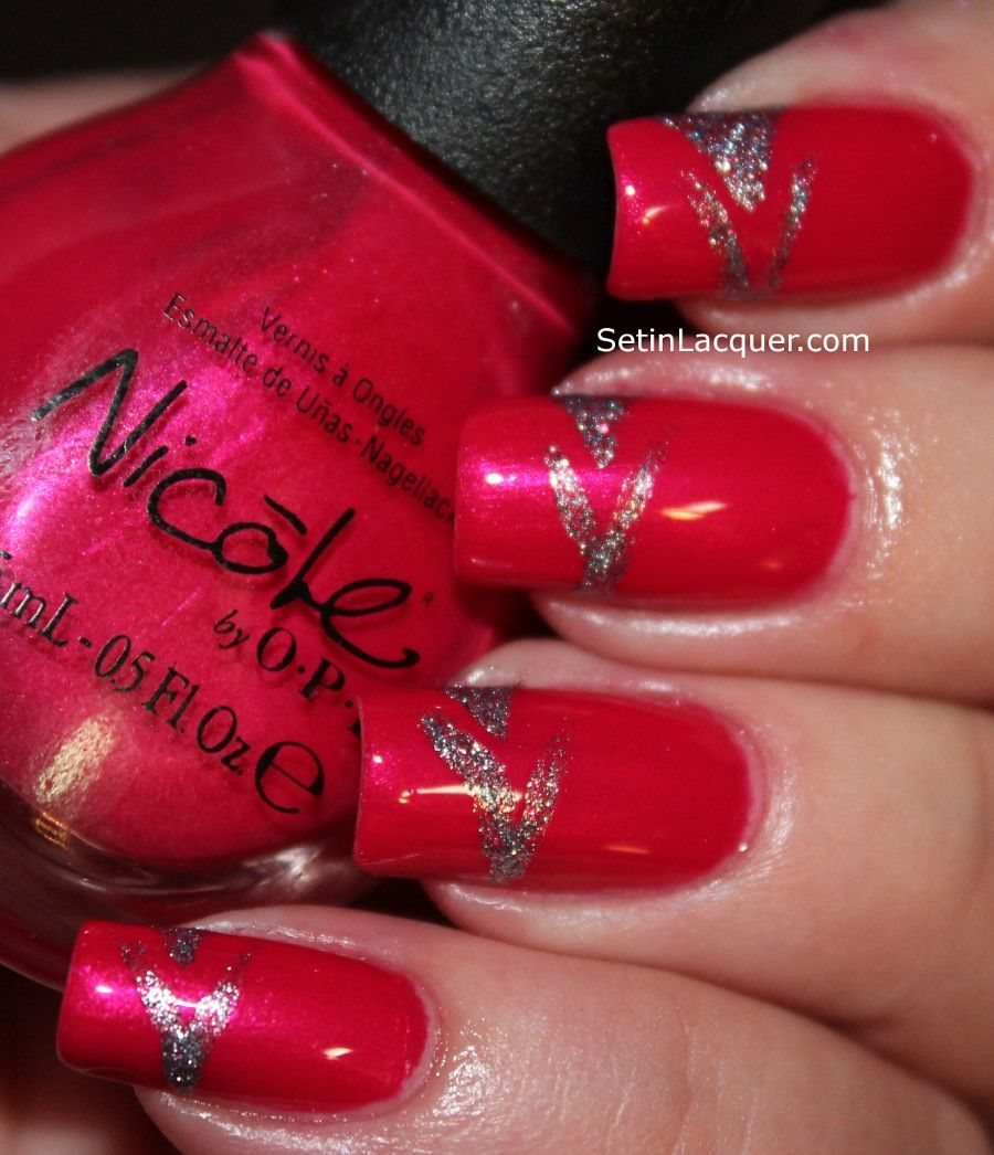 nail art design in vibrant pink polish with a lot of shimmer ...