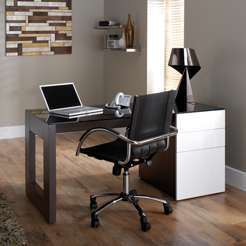 Sorbonne Computer Workstation | Glass Top Desk | Home Office Furniture