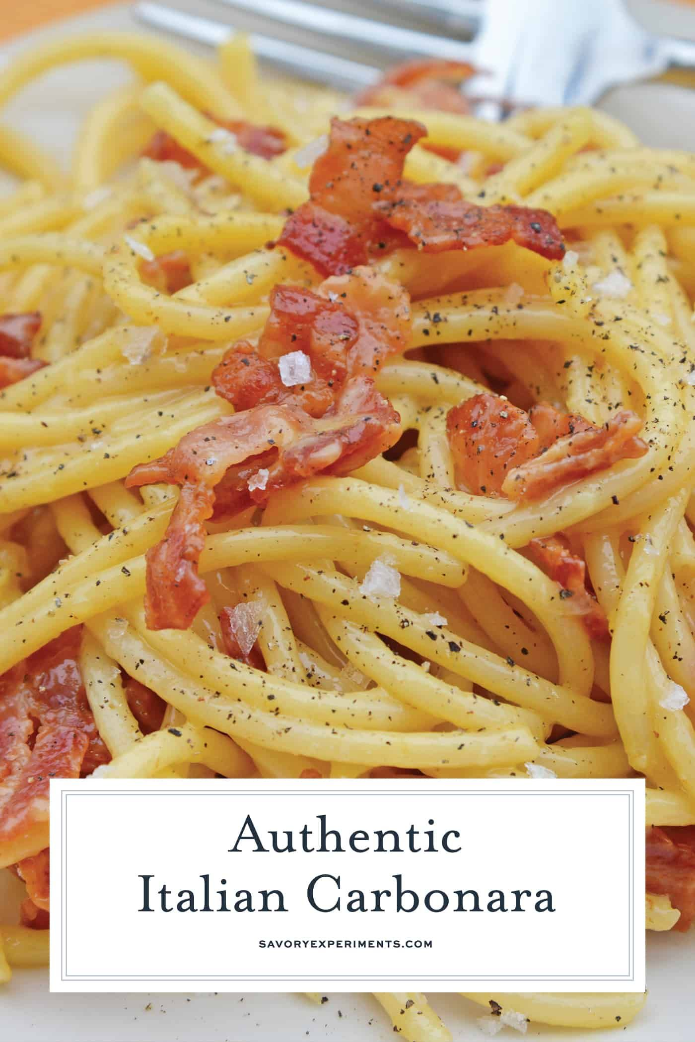 Authentic Carbonara Is An Easy Italian Pasta Recipe Using Eggs Cheese And Bacon This Is Italian Pasta Recipes Easy Italian Recipes Pasta Italian Recipes Easy