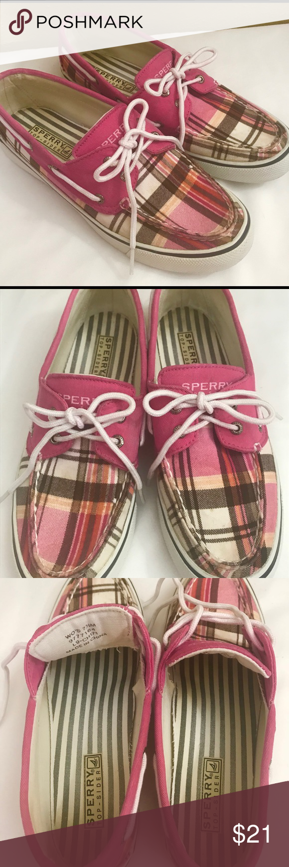 Sperry Top Sider Pink Plaid Boat Shoes