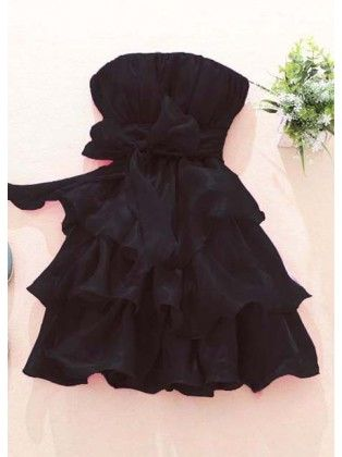 Off Shoulder Black Tiered Dress