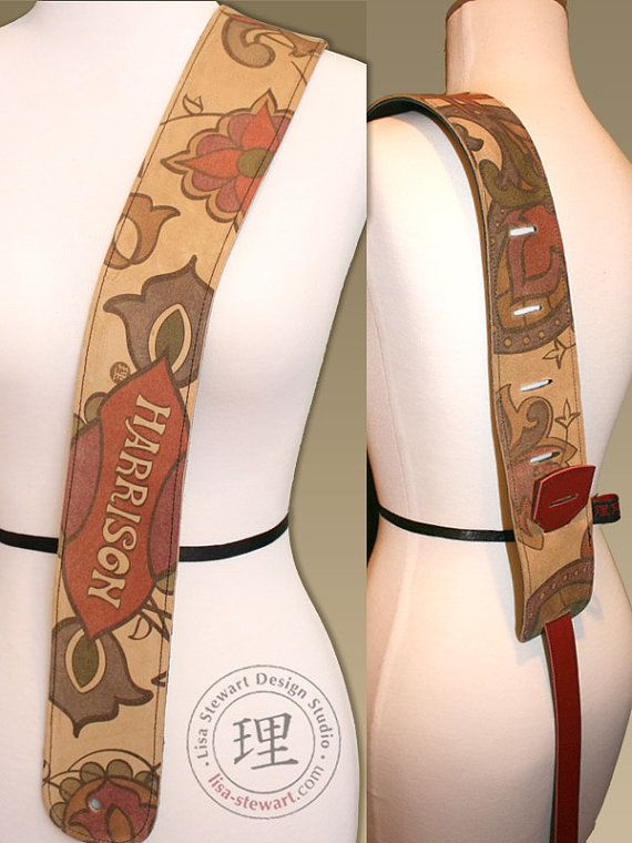 Leather Suede Custom Guitar Strap  by LisaStewartHandbags on Etsy, $200.00