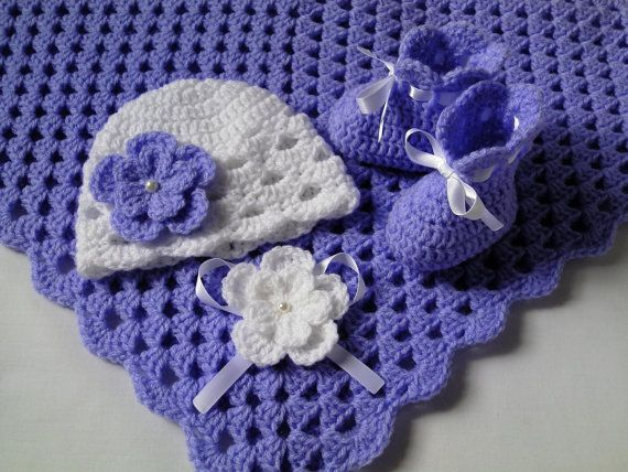 Crochet Baby Blanket Hat and Booties Set by MyLittleRainbowShop
