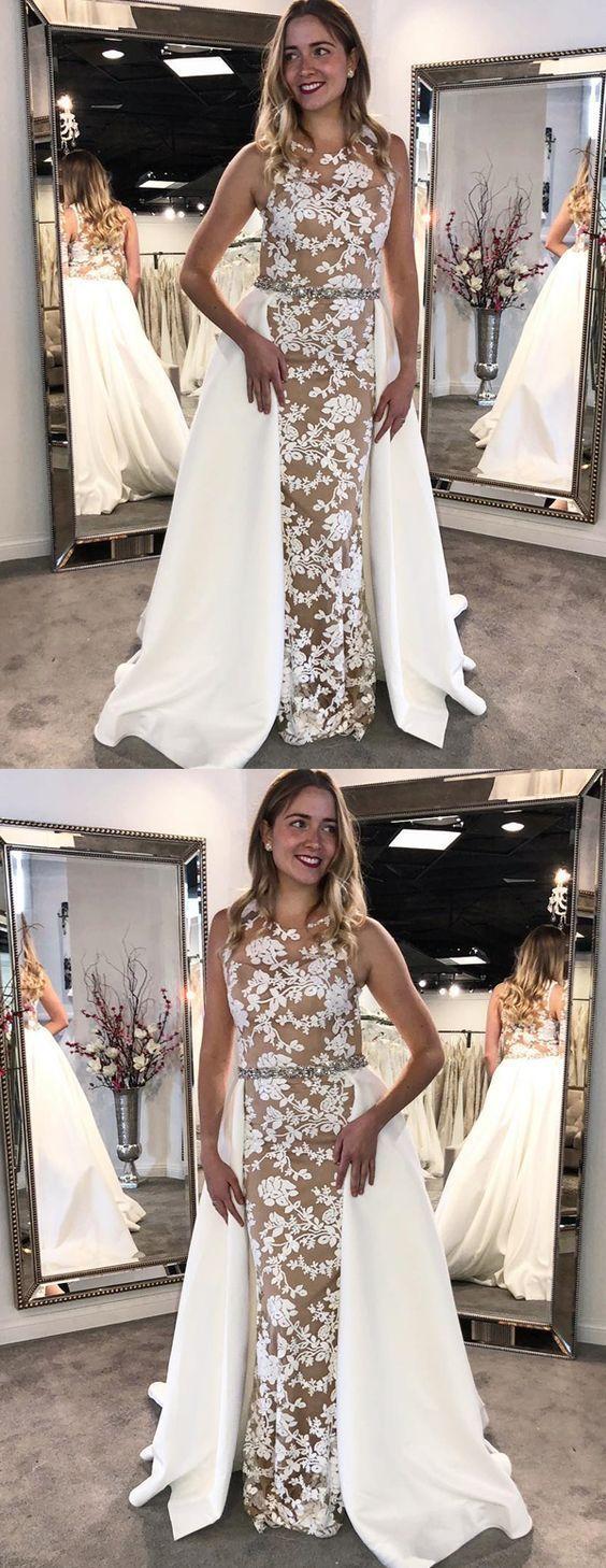 Modest white lace long prom dresses unique detachable party dresses