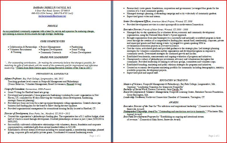 Barb S Resume In A Traditional Chronological Format Resume