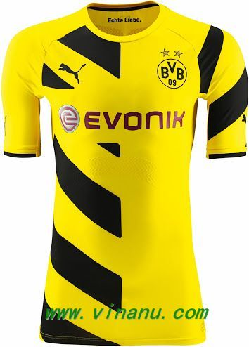 The new 14-15 Borussia Dortmund home soccer jersey features the ...