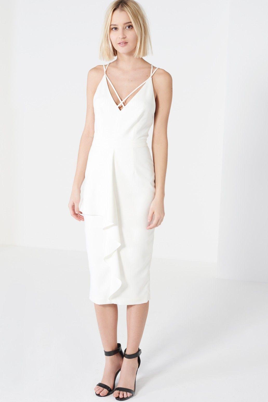Womens White Deep Plunge Strap & Frill Detail Midi Dress Lavish Alice Cheap Buy Authentic yKc4mkL