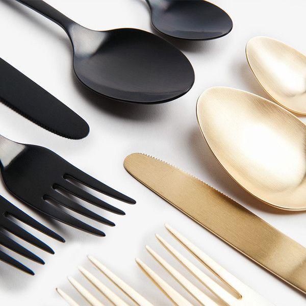 Matte Black Flatware Set Decor Gold Flatware Black Cutlery