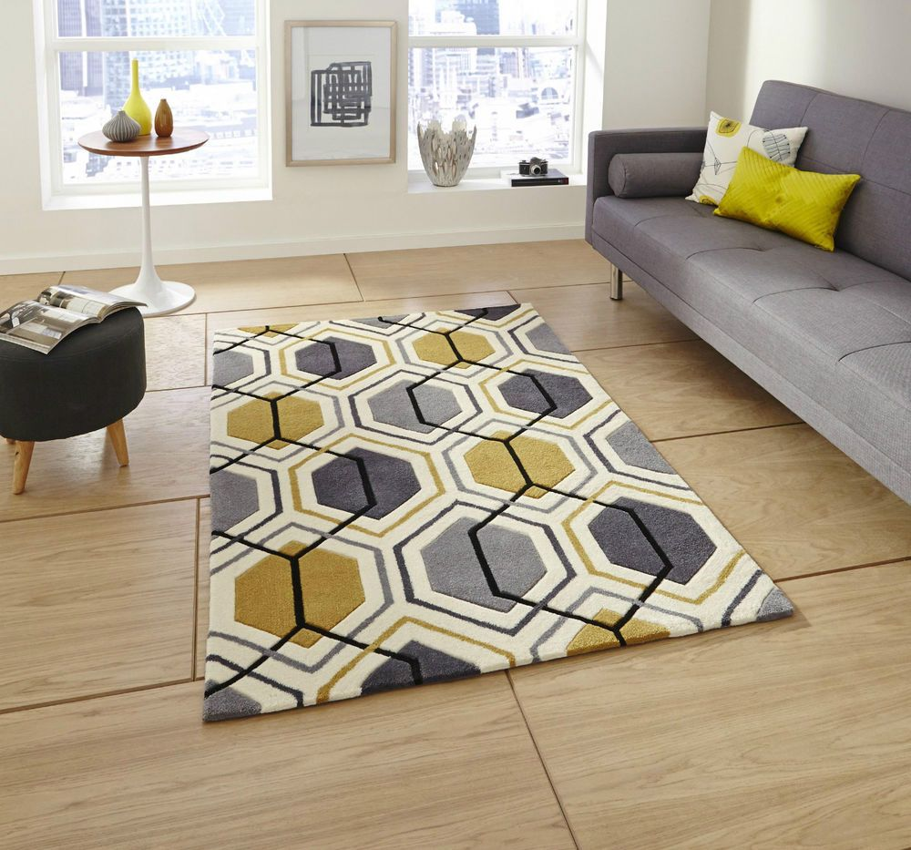 Hong Kong Grey Yellow Mustard Ochre Geometric Geo Hand Tufted Rug Rugs Mats Mat In Home