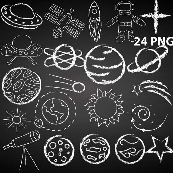Outer Space Doodle Clipart Made With Chalk White Chalkboard Etsy Space Doodles Chalkboard Wall Art Chalk Wall Art