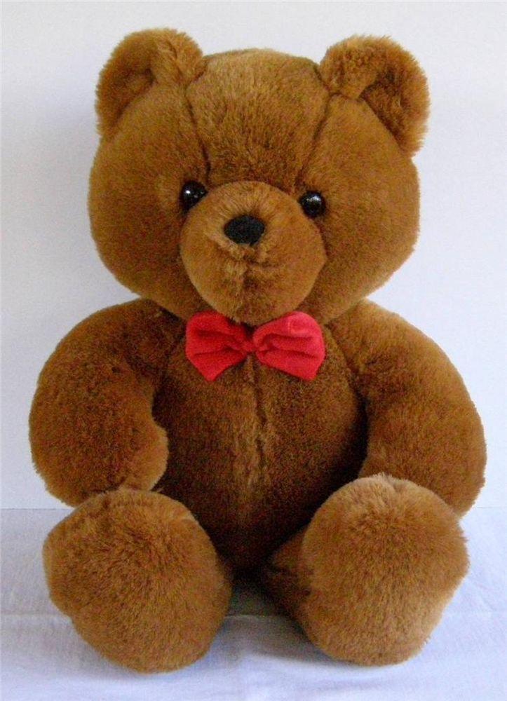 Vtg 1986 Dakin Fun Farm 21 Quot Brown Plush Teddy Bear Red Bow