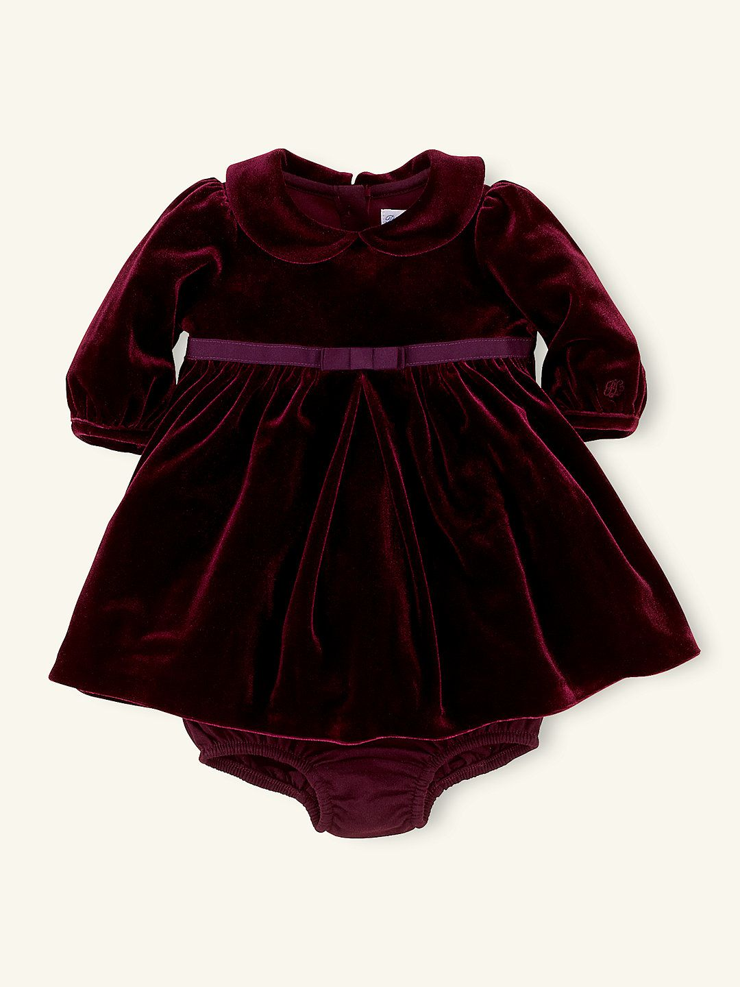 5a6173f5121 Long-Sleeved Velvet Dress - Dresses   Rompers Layette Girl (Newborn–9M) -  RalphLauren.com