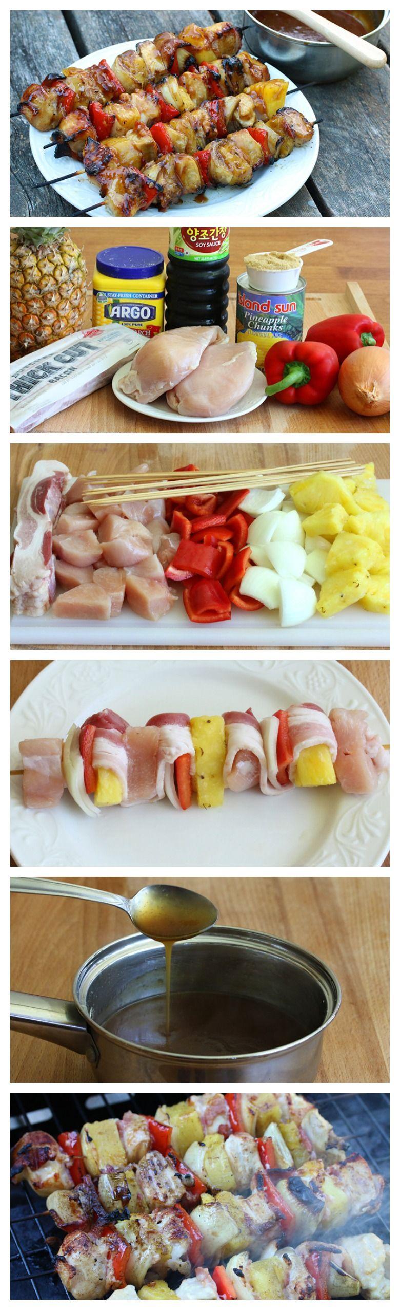 Pinchos dulces. Ingredientes: Tocineta, pollo, pimentones, piña, salsa de soya, salsa barbecue.