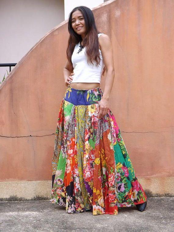 Boho bohemian gypsy floaty summer skirt