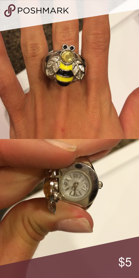 Bumble bee ring/watch Adorable bumble bee ring with a watch inside! Jewelry Rings