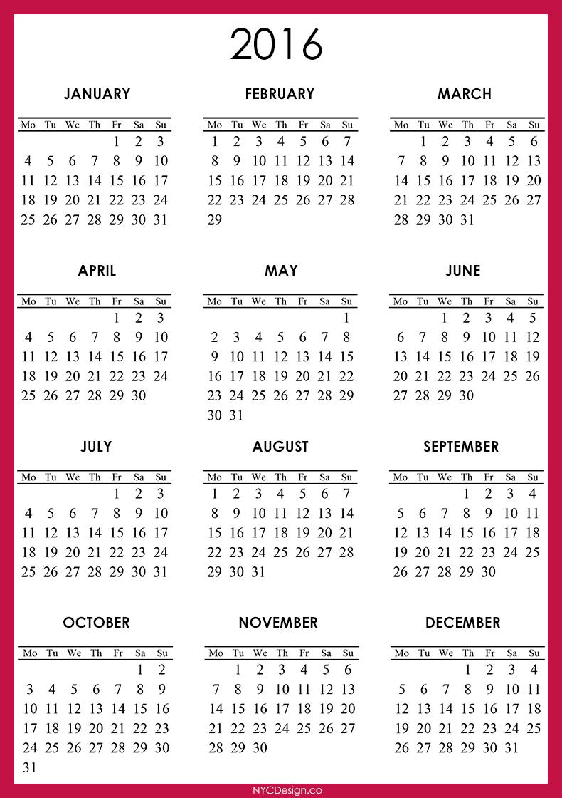 New York Web Design Studio New York Ny 2016 Calendar Printable Free Red Printable Calendar 2016 Calendar Printables Free Printable Calendar Templates