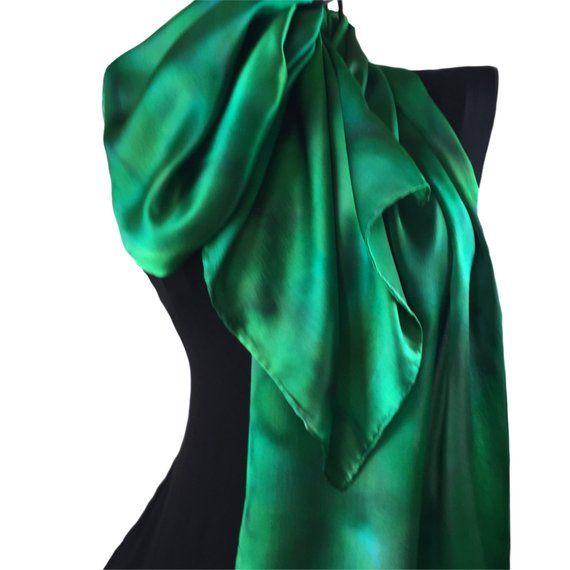 cd73281ca Emerald Green Silk Scarf, Hand Painted Silk Scarf, Green Silk Scarf,  Women's Gift, Silk Head Scarf,
