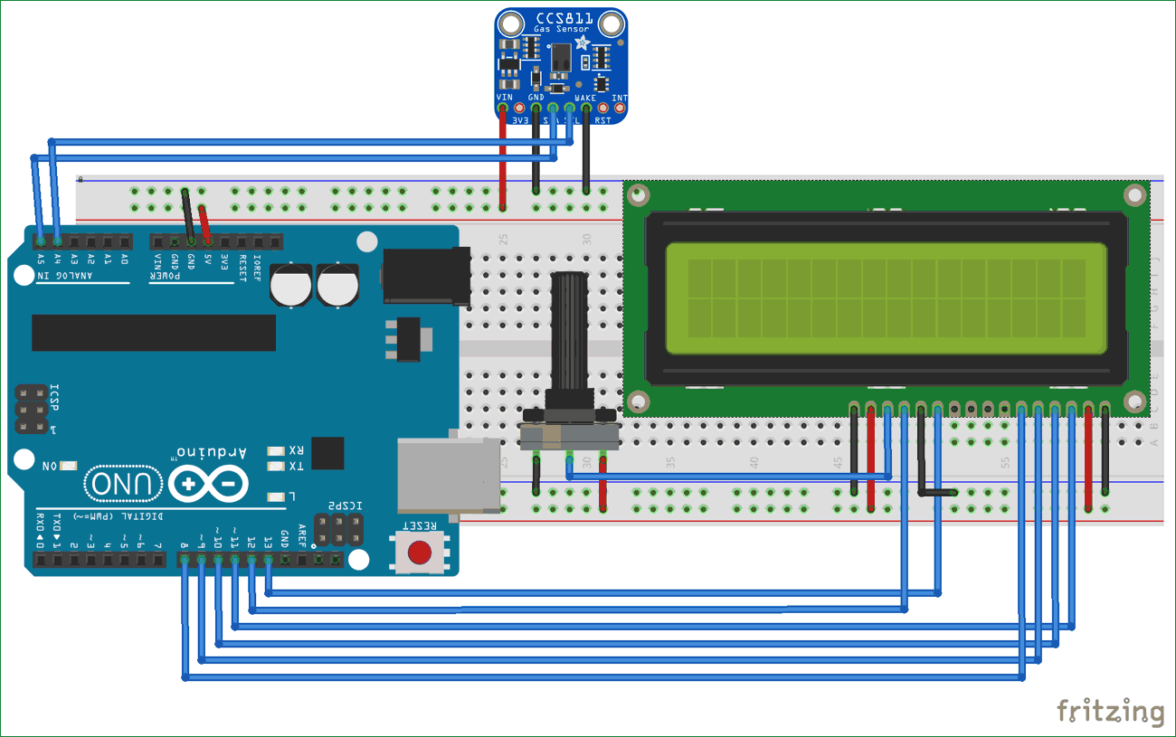 Circuit diagram for TVOC and CO2 Measurement using Arduino and ...