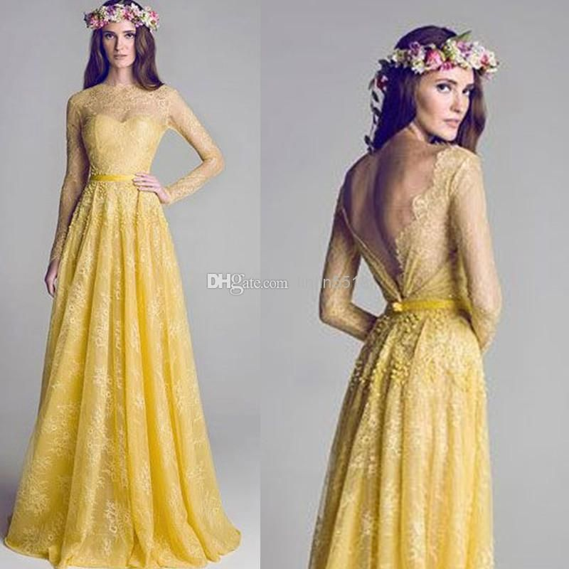 Yellow Prom Dress With Sleeves 2015 New Illusion Neck...