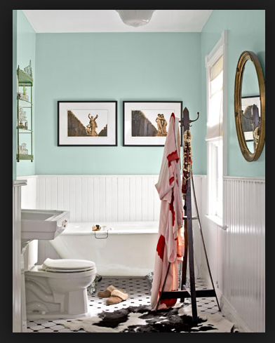 this would work for upstairs bath: tiffany blue, bead board, and keep black/white floors